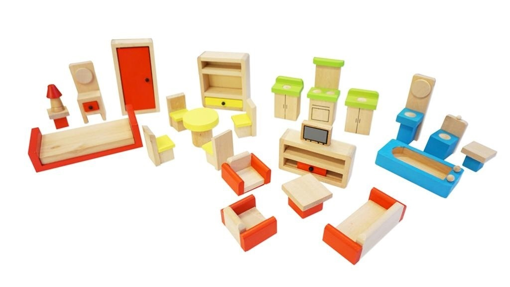Cheap dolls house furniture sets Rooms Fun Factory Doll House Furniture Set 26pc Wooden It Be Great Buy Fun Factory Doll House Furniture Set