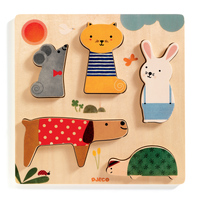 Djeco - Woody Pets Puzzle 5pc