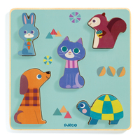 Djeco - Moustacha Wooden Puzzle 5pc