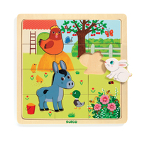 Djeco - Puzzlo Farm Wooden Puzzle 15pc