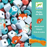 Djeco - Woodland Animals Wooden Beads