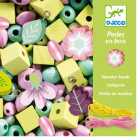 Djeco - Flowers and Foliage Wooden Beads