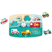 Hape - Emergency Vehicles Peg Puzzle - 9pc