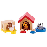 Hape- All Seasons Dollhouse Family Pet Set