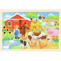 Masterkidz - Wooden Jigsaw Puzzle - Farm 20pc