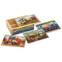 Melissa & Doug - Construction Vehicle Puzzles in a Box