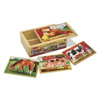Melissa & Doug - Farm Animals Jigsaw Puzzles In A Box - 12pc