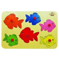 Andzee - Coloured Fish Peg Puzzle 6pc