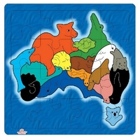 Andzee - Map of Australia Animals Puzzle 16pc