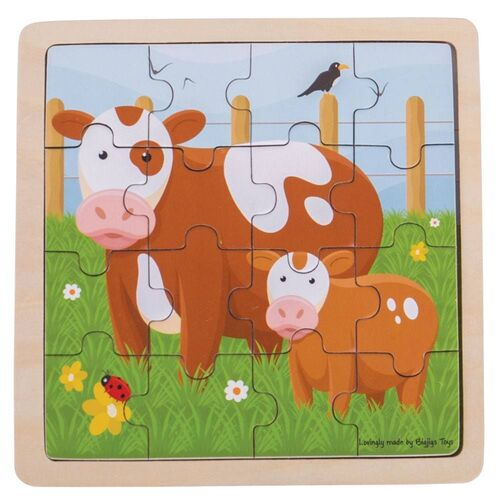 Bigjigs - Cow & Calf Puzzle 16pc