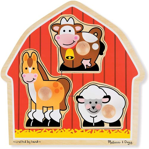 Melissa & Doug - Barnyard Animals Jumbo Knob Puzzle - 3pc