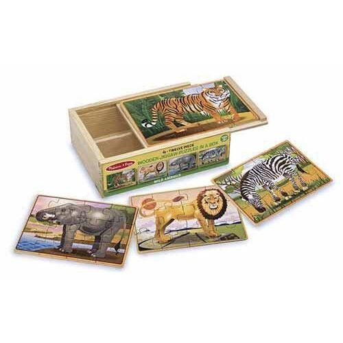 Melissa & Doug - Wild Animals Puzzles in a Box - 12pc